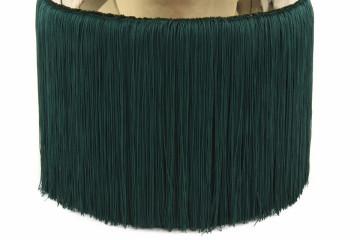 Puf/ Taburet tapitat cu franjuri Rebecca verde / auriu
