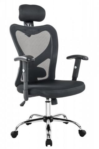 Scaun birou rotativ din piele artificială și husă din plasă Tres negru