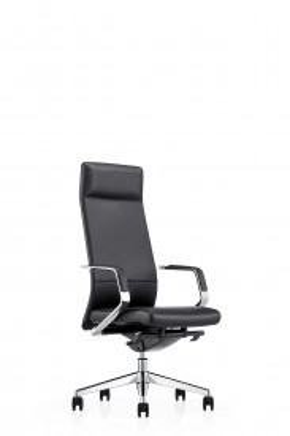 Scaun birou rotativ din piele Sleek negru