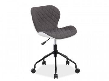 Scaun de birou rotativ tapitat Rino gri