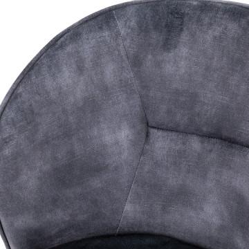 Scaun din catifea Rachel gri deschis