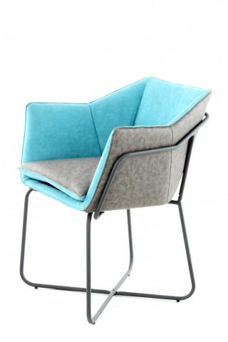 Scaun tapitat Marietta albastru/gri
