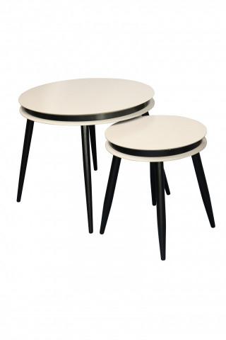 Set 2 masute de cafea rotunde din lemn de plop Suri 60x60x50,5 cm negru/crem