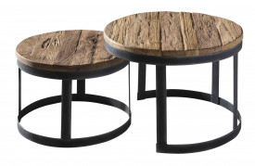 Set 2 masute de cafea rotunde din lemn de tec Romanteaka 55x55x40 cm maro/negru