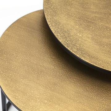 Set 2 masute de cafea rotunde din metal Setto 49x49x52 cm maro