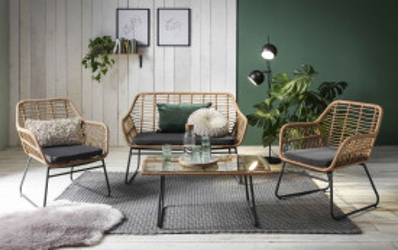 Set 2 scaune, banca si masa pentru gradina din ratan maro