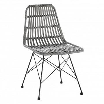 Set 2 scaune cu aspect de ratan gri deschis