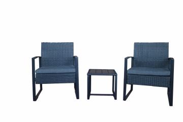 Set 2 scaune cu masa pentru gradina din ratan albastre
