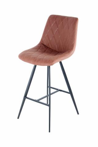 Set 2 scaune de bar cu aspect de piele Frances maro