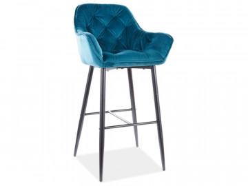 Set 2 scaune de bar din catifea Cherry turcoaz 76 x 56 x 40 cm