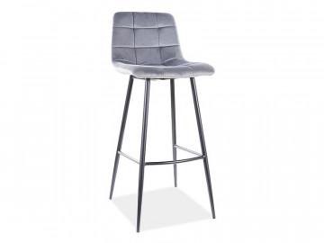Set 2 scaune de bar din catifea Mila gri