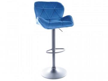 Set 2 scaune de bar din catifea reglabil 60-83 cm albastre