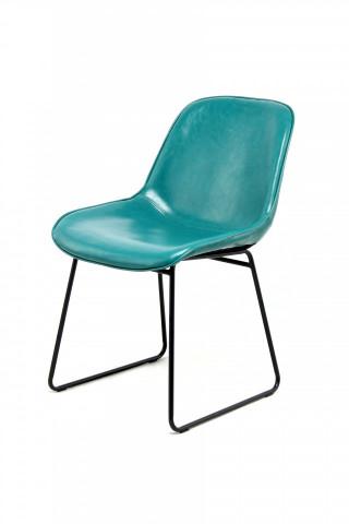 Set 2 scaune piele artificiala Cora albastru/petrol