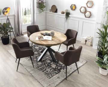 Set 2 scaune tapitate cu aspect de piele intoarsa Sit&Chairs maro inchis