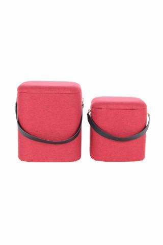 Set 2 tabureti tapitati cu spatiu pentru depozitare Arabella rosii
