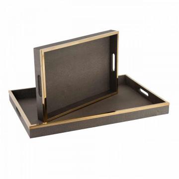 Set 2 tavi patrate pentru servire Belen, maro, 40x60x5/30x45x5 cm