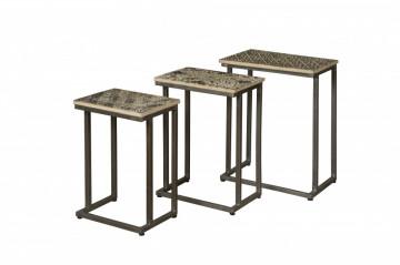 Set 3 masute de cafea dreptunghiulare din metal 47x33x61 cm bronz