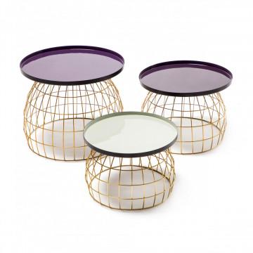 Set 3 masute de cafea rotunde din metal Laudatio 50x50x42 cm mov/lila/gri deschis