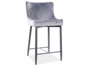 Set 4 scaune de bar din catifea Colin gri 60 x 48 x 41 cm