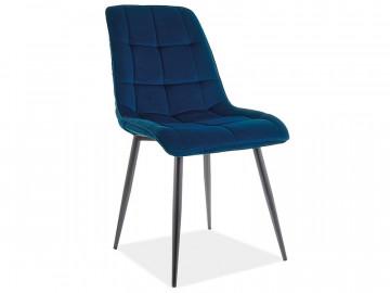 Set 4 scaune din catifea Chic albastru mat