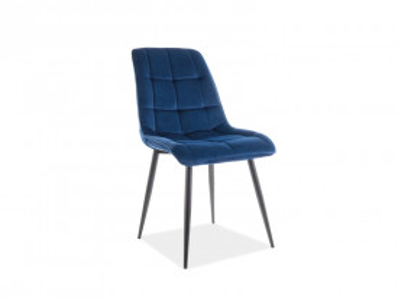 Set 4 scaune din catifea Chic albastru/negru