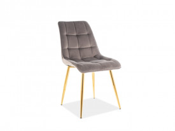 Set 4 scaune din catifea Chic gri / auriu