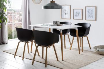 Set masa dreptunghiulara din MDF alba cu 4 scaune negre 120x80 cm