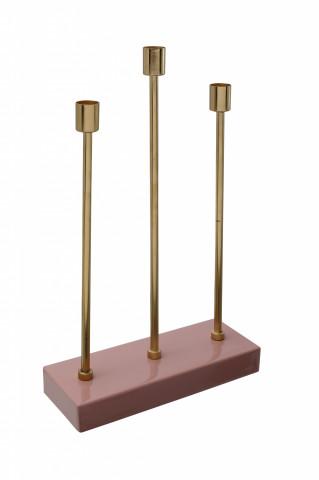 Suport lumanare din fier cu 3 brate Art Deco, roz / auriu
