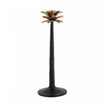 Suport lumanare palmier din metal Everlee, negru/gold