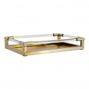Tava patrata pentru servire din sticla Caydon, gold, 8x46.5x31 cm