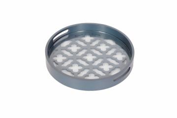 Tava rotunda cu insertii de sticla lucrata manual Colorado, albastru, 37 cm