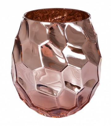 Vaza de sticla Saribus Roz /Auriu