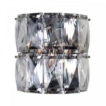 Aplica perete din fier/cristal Auden argintie, un bec