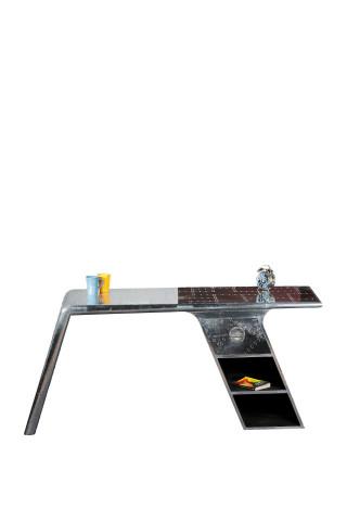 Birou din aluminiu si mango cu spatiu de depozitare Airman 175 cm