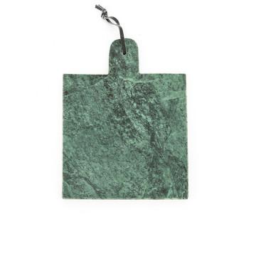 Blat pentru servire patrat din marmura CB2, verde, 25 cm