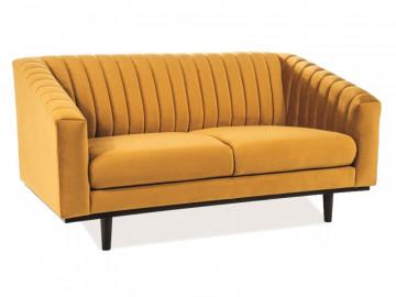 Canapea din catifea Asprey galbena, 2 locuri