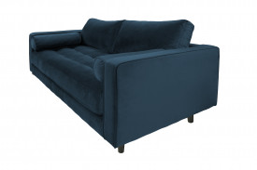 Canapea din catifea Miller, 2 locuri, albastra 100x185x84 cm