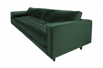 Canapea din catifea Miller, 3 locuri, verde 100x225x84 cm