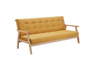 Canapea extensibilă din catifea cu cadru din lemn de eucalipt galbena, 3 locuri