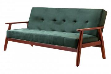Canapea extensibila din lemn masiv, verde, 3 locuri