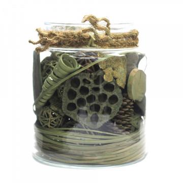 Decoratiune din sticla Flora cu materiale naturale uscate, verde
