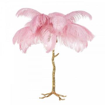 Lampa decorativa din cupru/pene Upanova roz, un bec