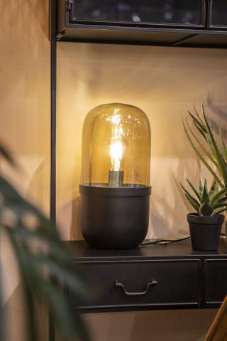 Lampa decorativa din fier/sticla Maverick neagra, un bec