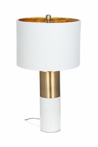 Lampa decorativa din tesatura/ fier/marmura Orbit alba/ bronze/alba, un bec