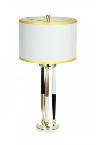 Lampa decorativa din tesatura/metal Paralla alba/neagra/aurie, un bec