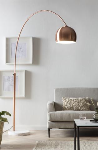 Lampadar din metal/marmura/plastic 205 cm cupru/alb, 1 bec