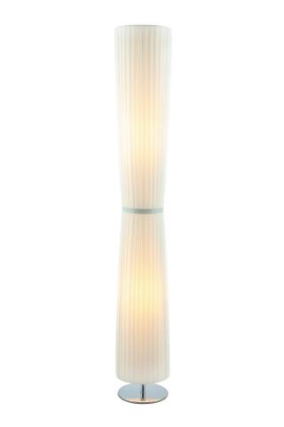 Lampadar din otel/plastic/tesatura 120 cm alb, 2 becuri