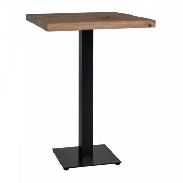 Masa de bar patrata din lemn de stejar Gastronomy 110x70x70 cm maro