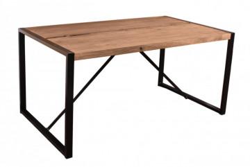 Masa dreptunghiulara cu blat din lemn de salcam Natural Edge 160x90x76 cm maro/negru