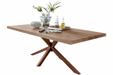 Masa dreptunghiulara cu blat din lemn de stejar Tables & Benches 180 x 100 x 76,5 cm maro deschis/maro inchis